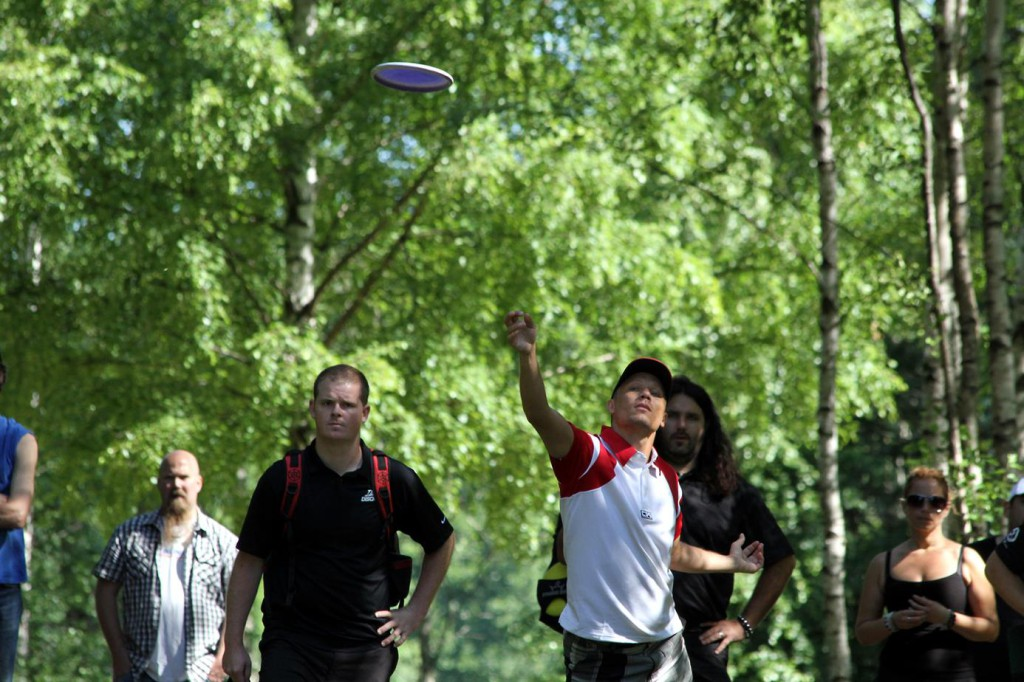Home player Patrik Eriksson on hole 24 and Nate Doss on the left and behind Tomas Ekström